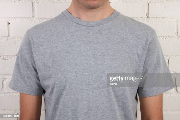 Young male with blank gray t-shirt