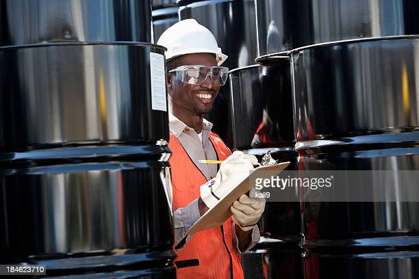 Young male worker at industrial plant