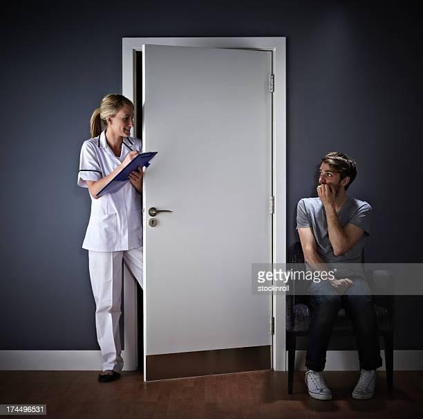 Young man afraid of his medical exam