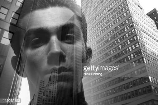 Young man against New York skyline 01 : Stock Photo