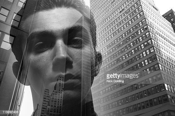 Young man against New York skyline 01
