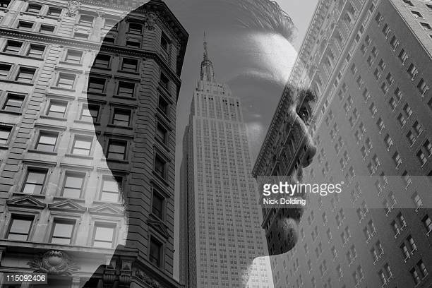 Young man against New York skyline 02