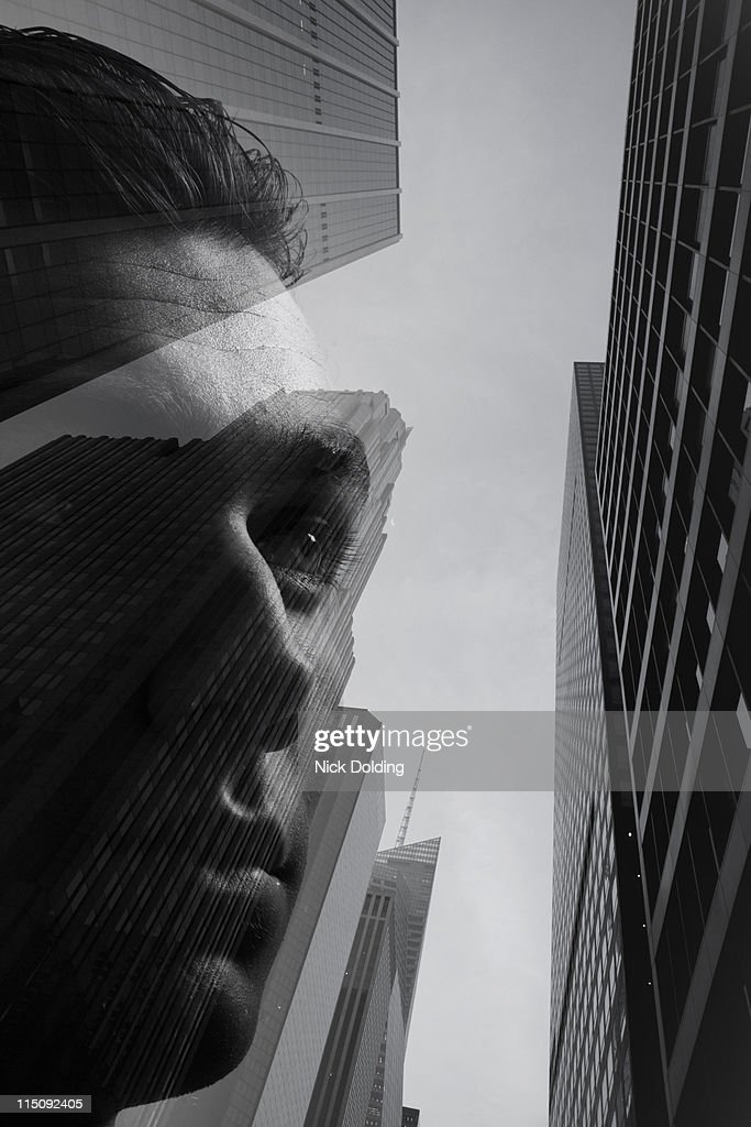Young man against New York skyline 04 : Stock Photo