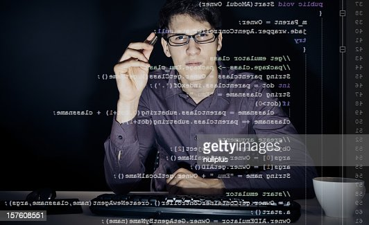 young man analyzing his java code