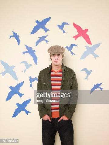 Young man and birds