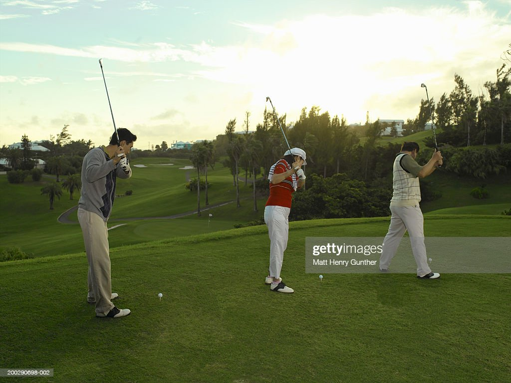 Young man and mature couple practicing driving golf ball, side view : Stock Photo