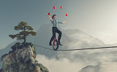 Juggler is balancing on rope with a bike between two mountains. This is a 3d render illustration
