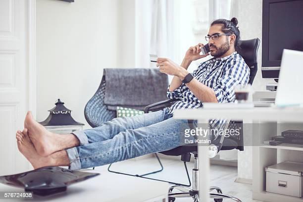 Young man at home