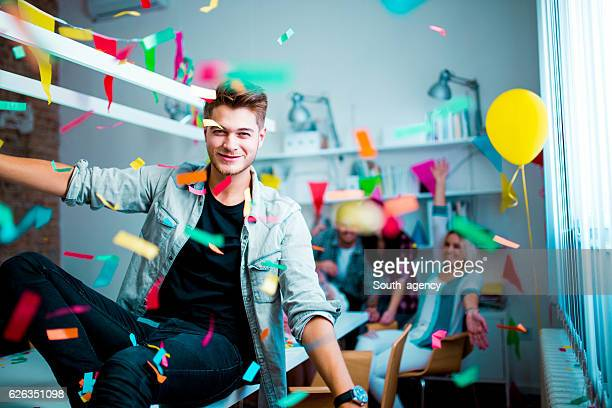 Young man at the birthday party