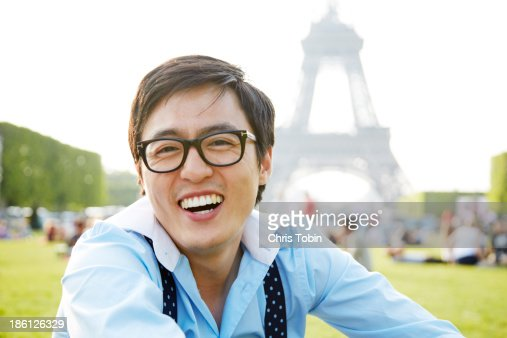 Young man at the Eiffel Tower