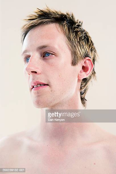 Young man, barechested, close-up
