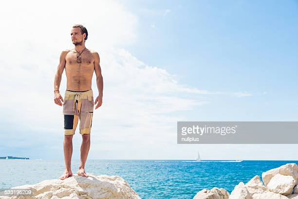 young man by the mediterranean sea