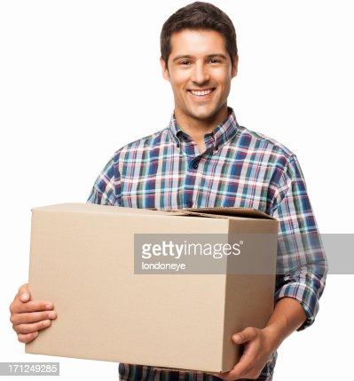 Jovem carregar uma caixa de papelão-isolada