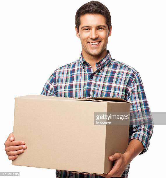 Young Man Carrying a Cardboard Box - Isolated
