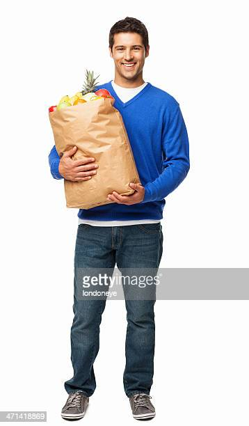 Young Man Carrying Large Bag Of Groceries - Isolated