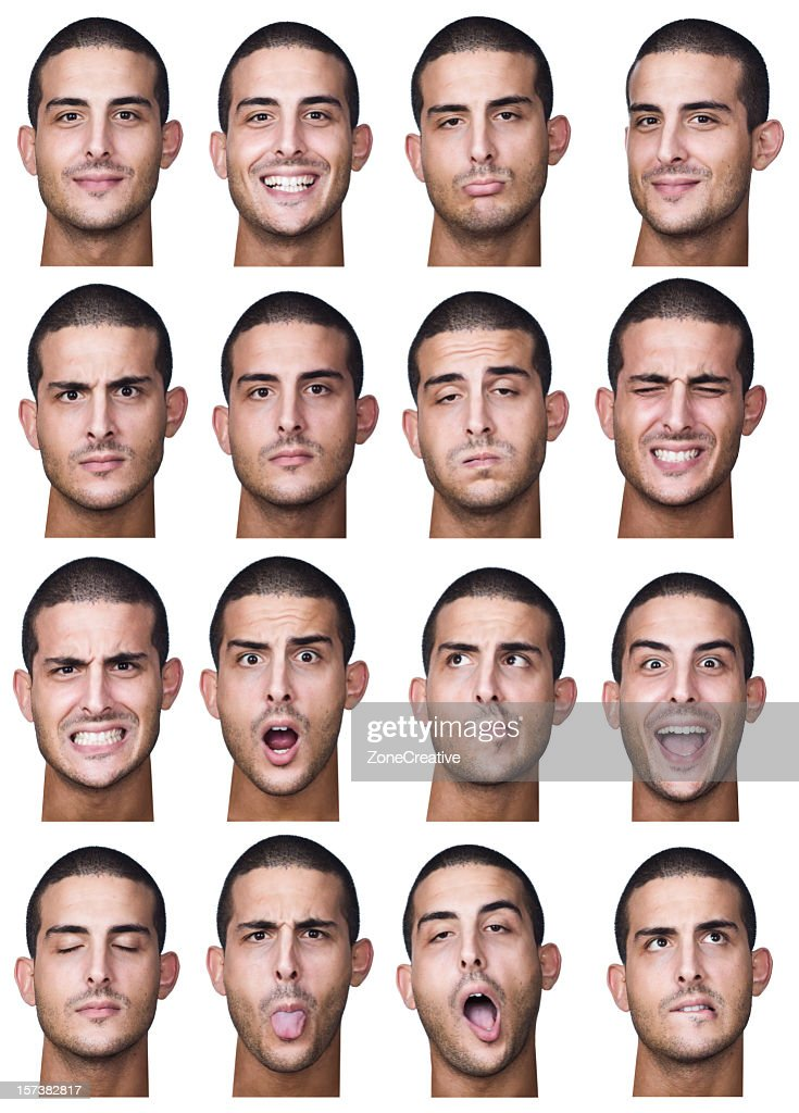 young man collection of expressions