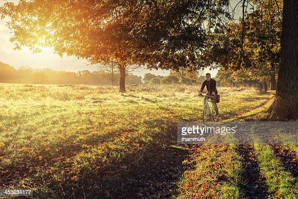 young man cycling in the morning