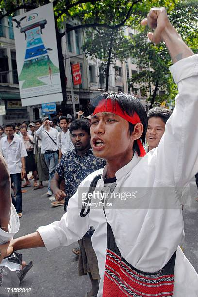A young man demonstrating against the Burmese military junta in downtown Rangoon