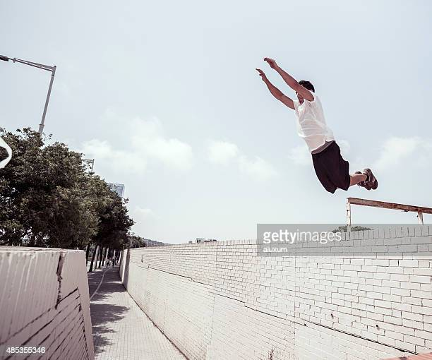 Young man doing parkour