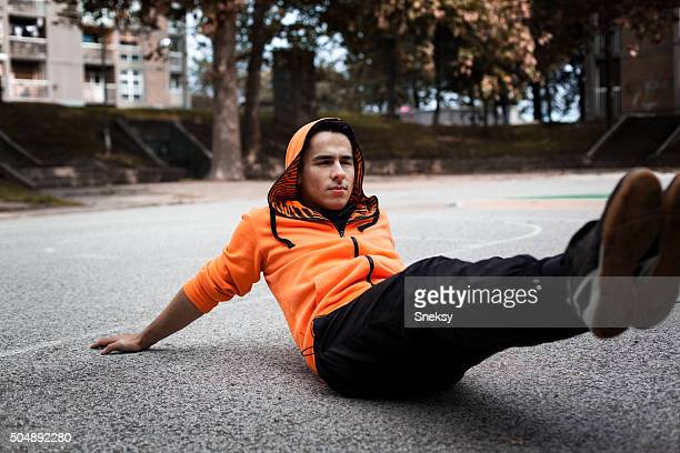 Young man doing situps