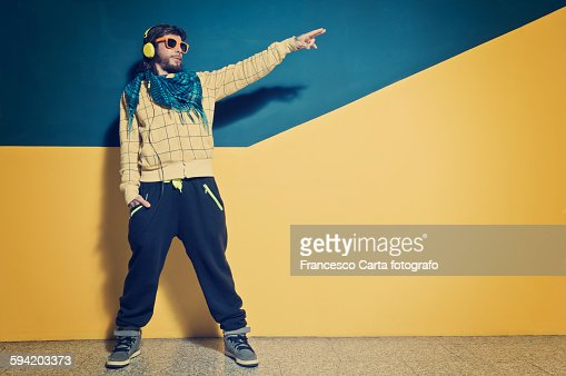 Young man dressed in clothing rap