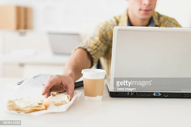 Young man eating sandwich and using laptop, Jersey City, New Jersey, USA