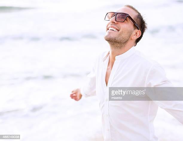 Young man enjoy