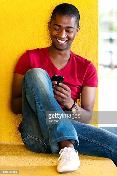 Young man enjoying a message