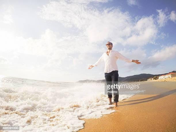 Young man enjoying