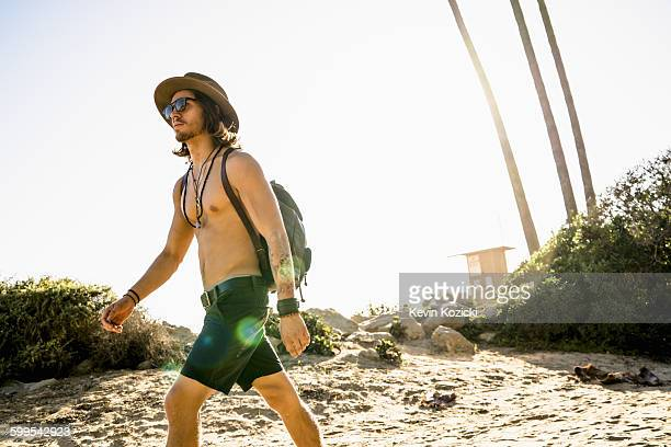 Young man exploring Newport Beach, California, USA