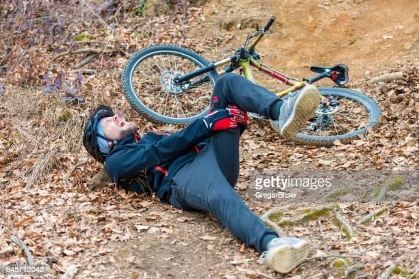 Young man fell off mountain bike
