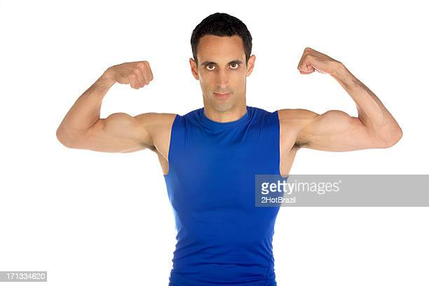 Young Man Flexing His Muscules