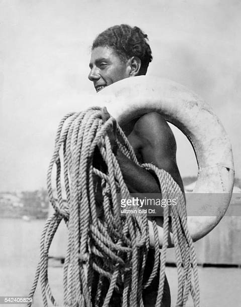 A young man from Naples with a rescue ring and a rope Vintage property of ullstein bild