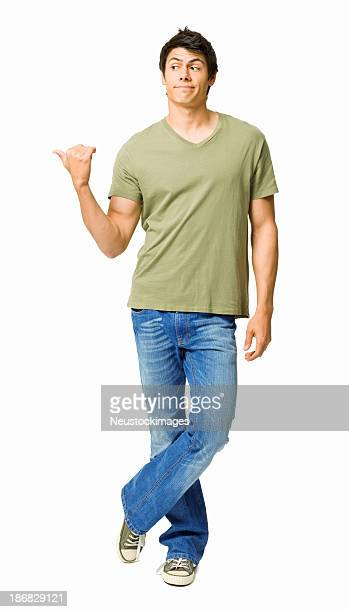 Young Man Gesturing to the Side - Isolated