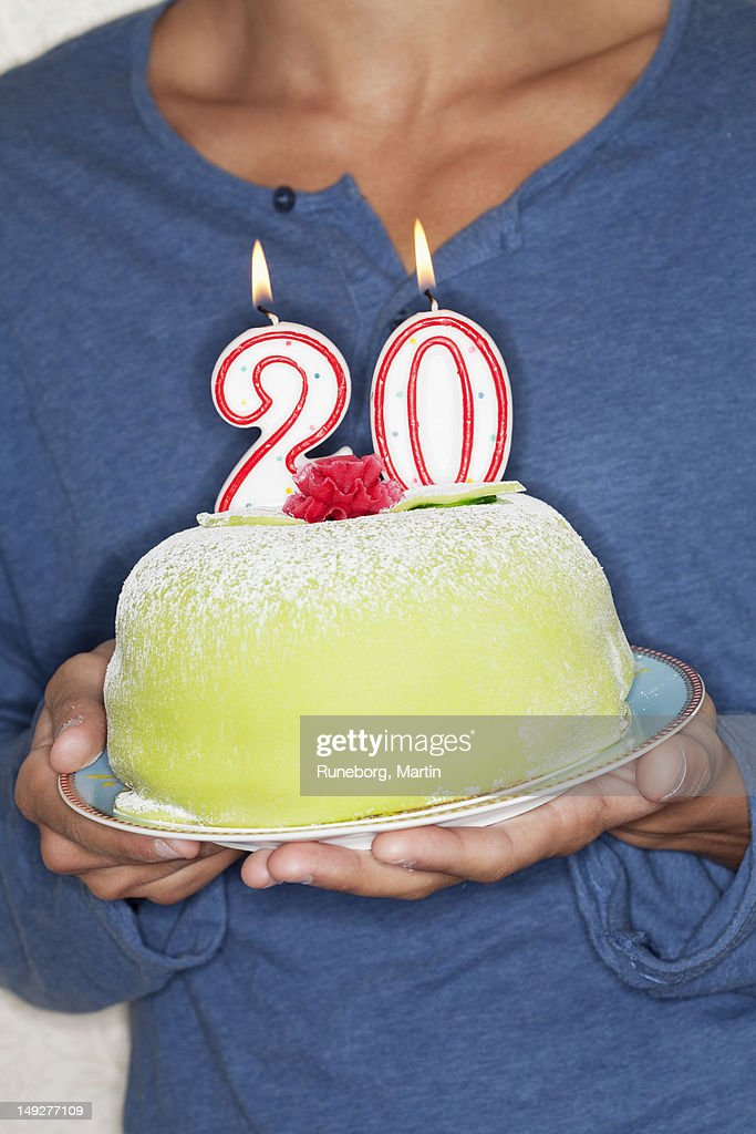 Young Man Holding Birthday Cake Stock Photo Getty Images