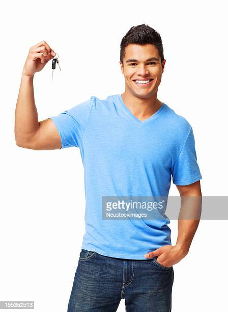 Young Man Holding Car Keys - Isolated