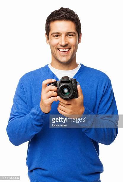 Jeune homme tenant la caméra-isolée DSLR