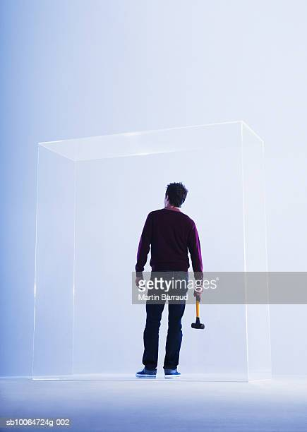 Young man holding hammer on glass cabinet, rear view