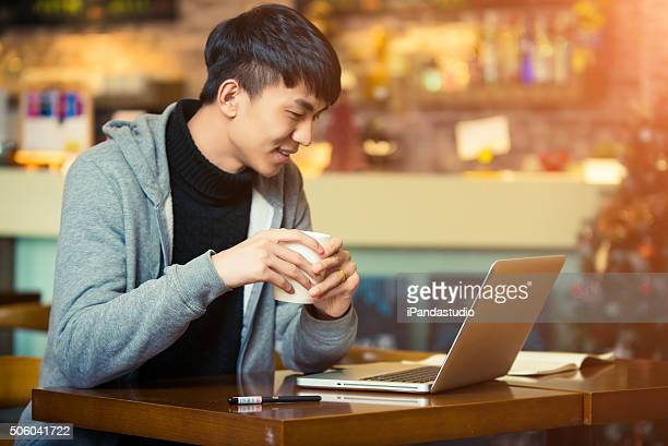 young man in a coffee house