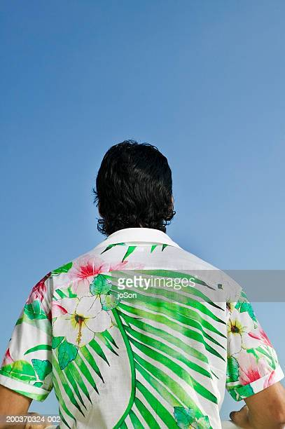 Young man in hawaiian shirt, raising arms, rear view, close-up