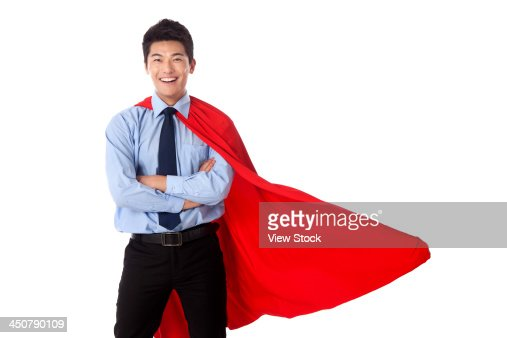 Young man in superman outfit