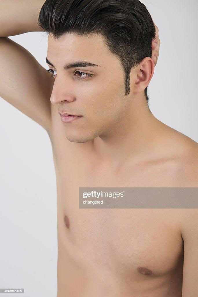 Jovem homem em Roupa de Natação : Foto de stock