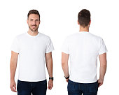 Front And Rear View Of A Young Man In White T-shirt
