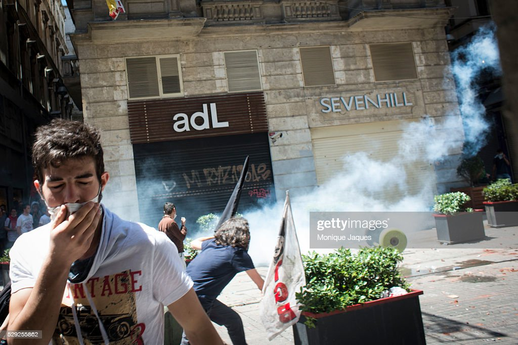 A young man is overcome by tear gas Protests in Istanbul Turkey continue Protests began as a fight to save Gexi Park in central Istanbul After the...