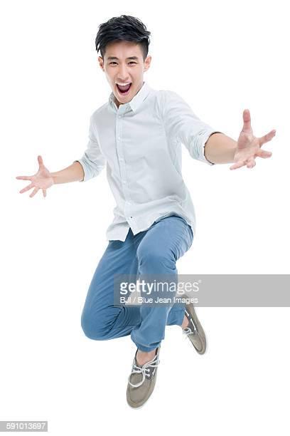 Young man jumping