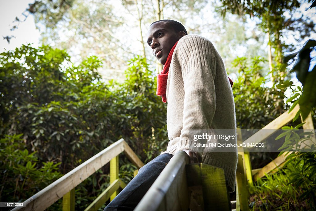 Young man, leaning against fence in forest : Stock Photo