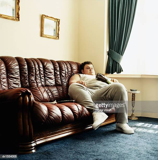 Fat guy on couch stock photos and pictures getty images for Couch lustig
