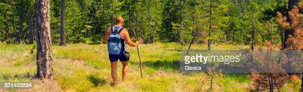 Ung man bergsbestigare vandra ensam i bergen
