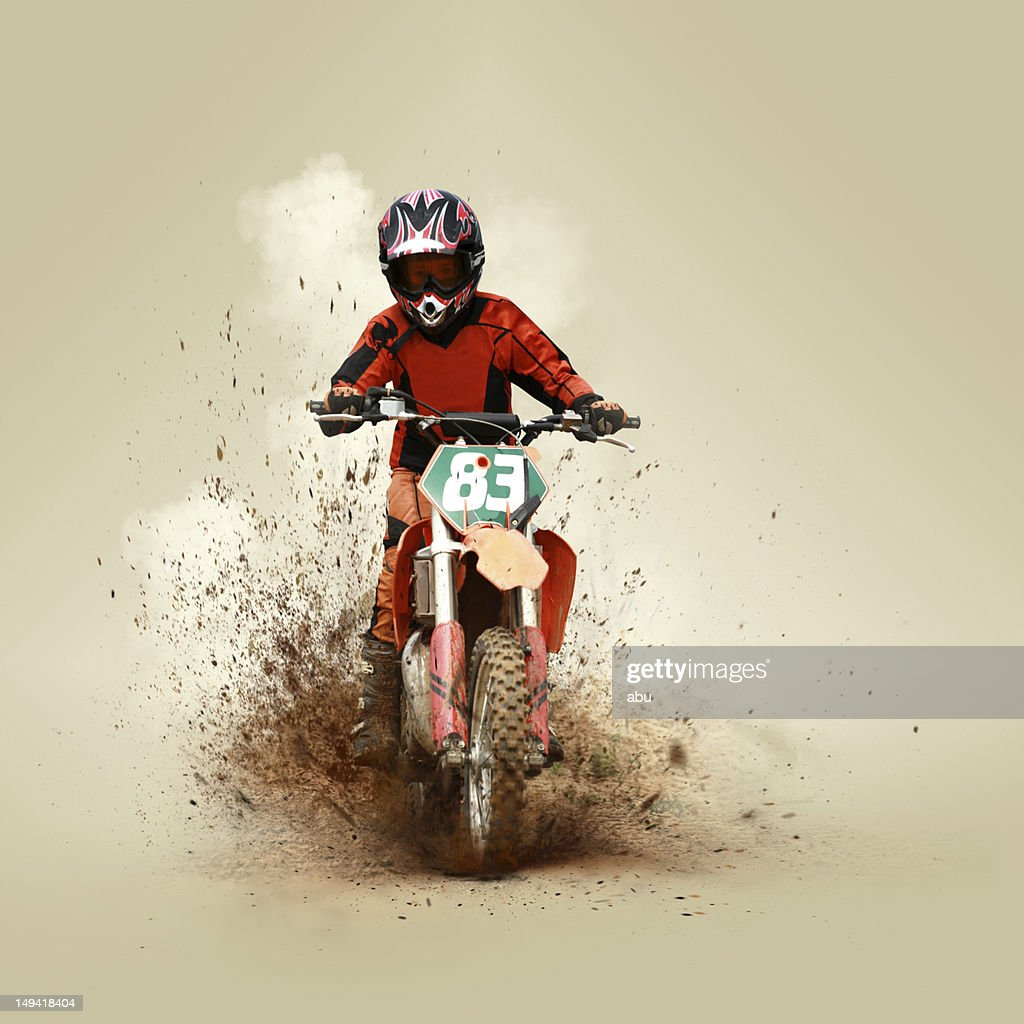 Young man on his motorcycle