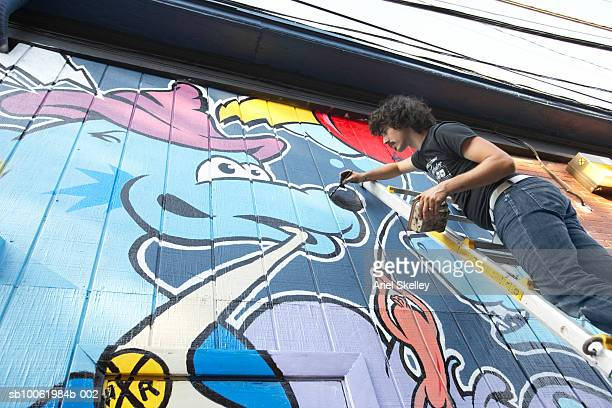 Young man painting mural on wall, low angle view